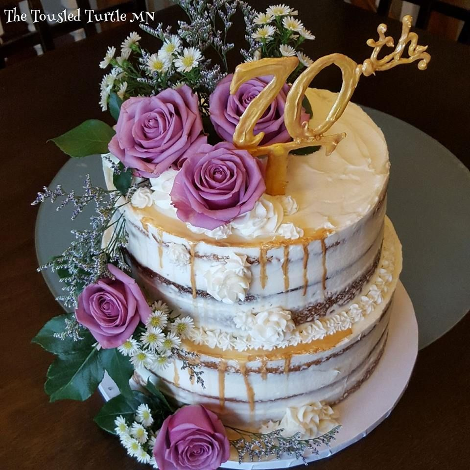 Gorgeous Cake Made To Order Rustic Sides Naked 70th Birthday Retirement Celebration Edible Gold Drip Fresh Purple Roses