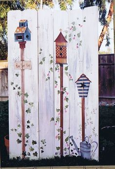 Neighborhood Fence Birdhouses Decorative Tole Painting Pattern#birdhouses #decorative #fence #neighborhood #painting #pattern #tole