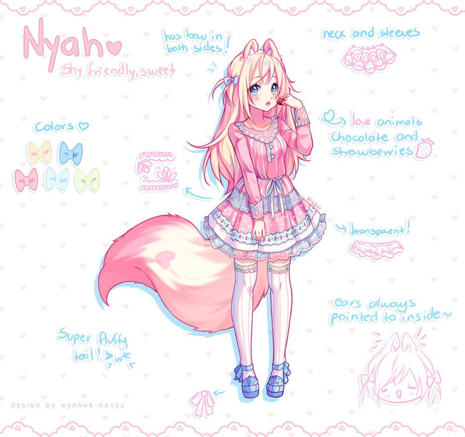 Commission Nyah Design By Hyanna Natsu Deviantart Com On Deviantart Anime Art Anime Kawaii Drawings