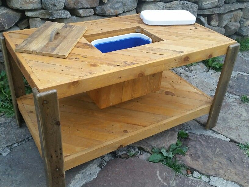 New project this week A backyard table with a cooler inside All