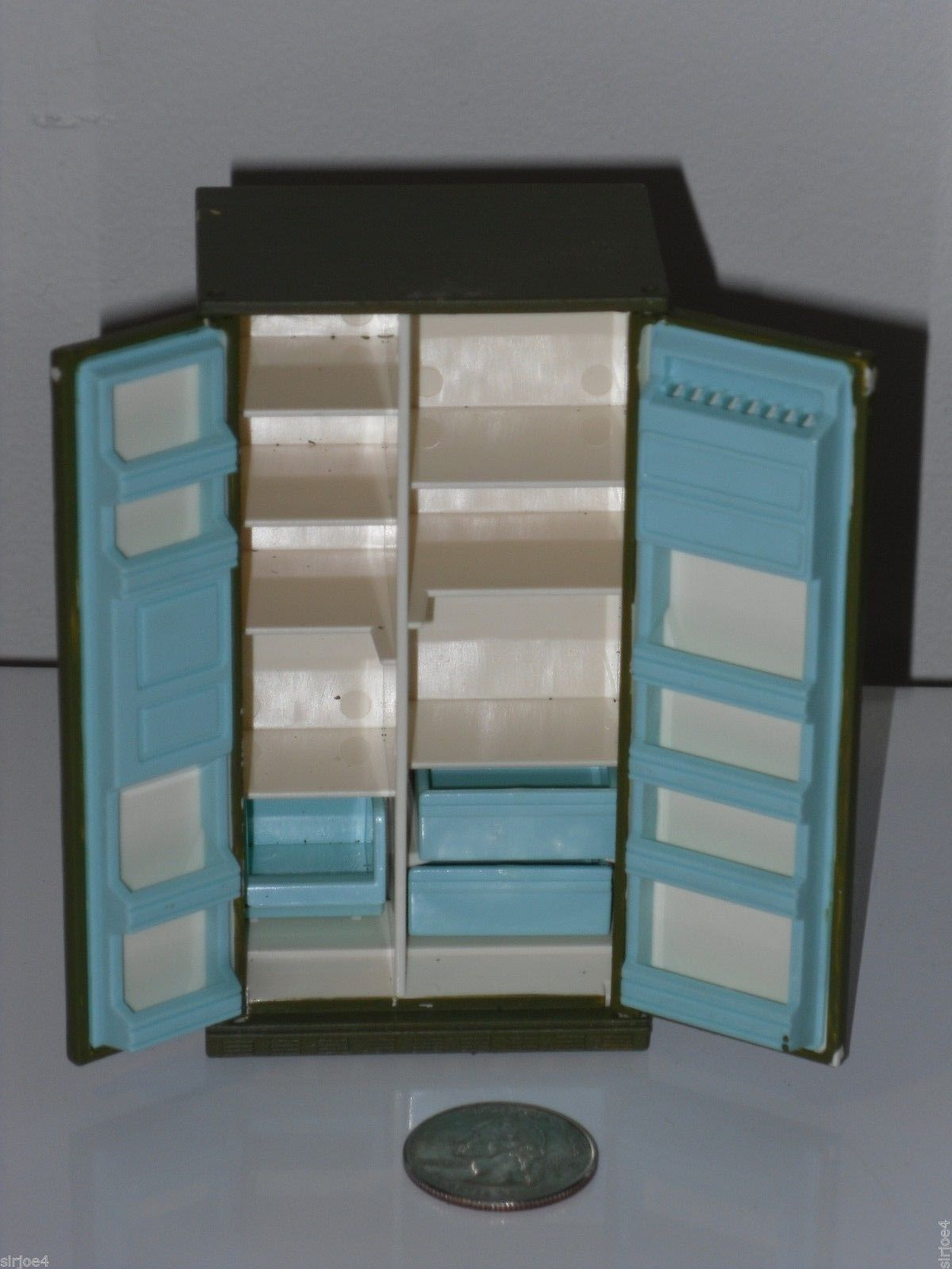 Vintage Dollhouse Furniture Painted Tomy Plastic Kitchen Cabinets ...