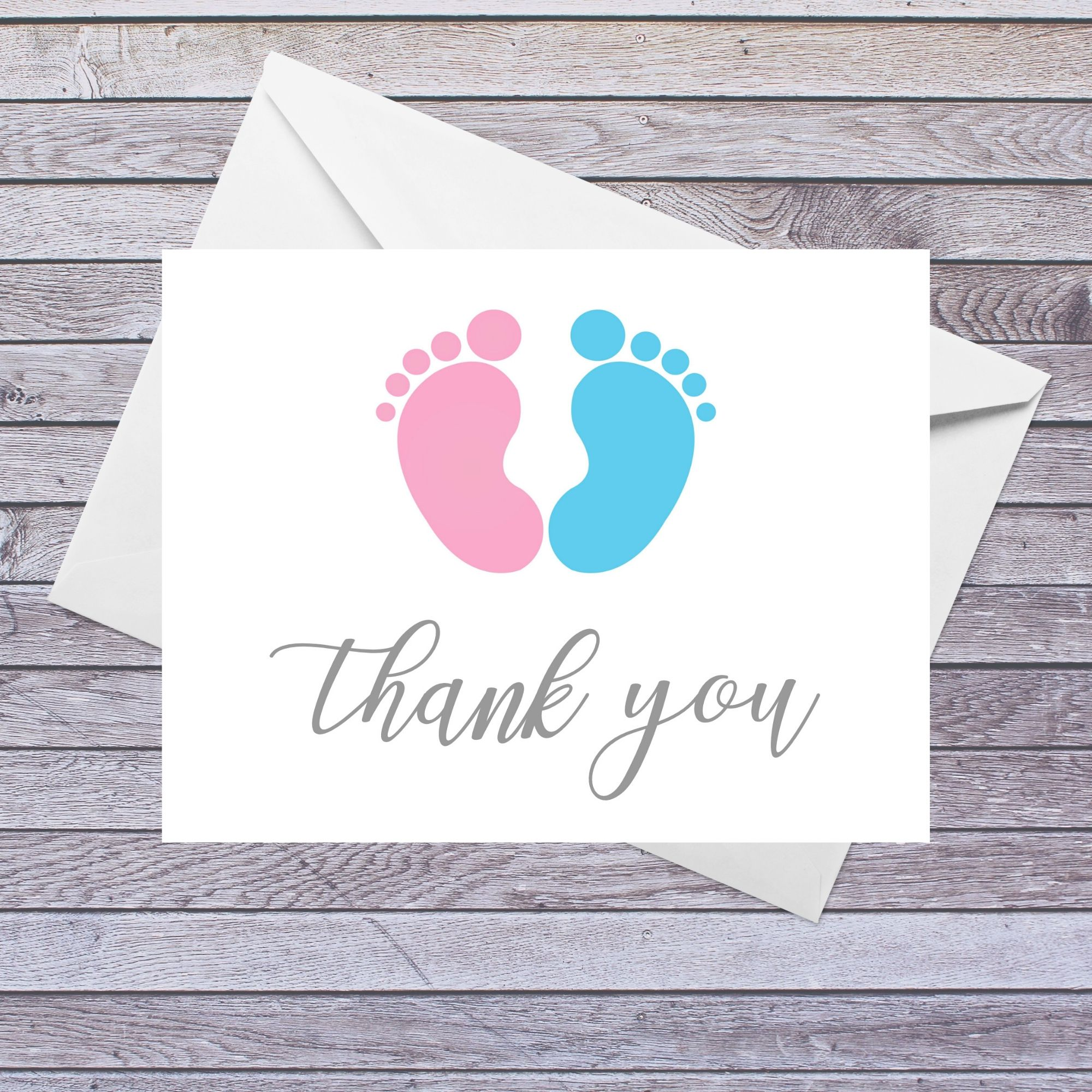 Baby Shower Thank You Card Footprints  Etsy  Baby shower thank