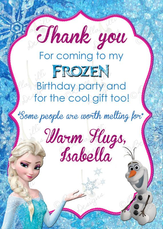 Printable Frozen Thank you Card Invitations and Announcements