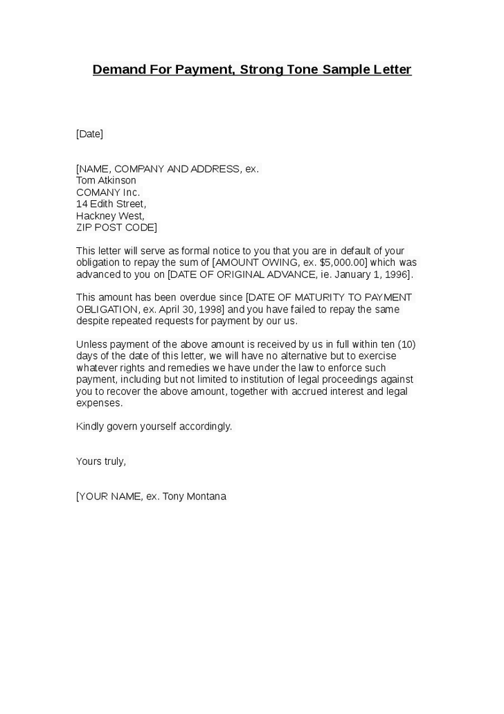 Demandforpaymentstrongtonesampleletterpng Pixels - Formal demand for payment letter template