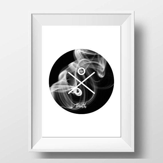 Death Tarot Print - Tarot Symbol Art - Wicca Decor - Wiccan Gift ...