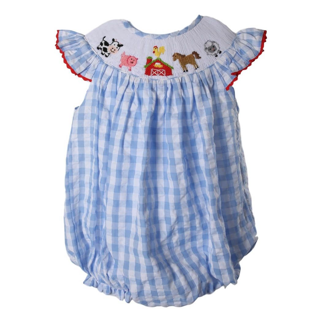 79572c734 Blue Check Seersucker Smocked Farm Bubble | for my newest grandchild ...