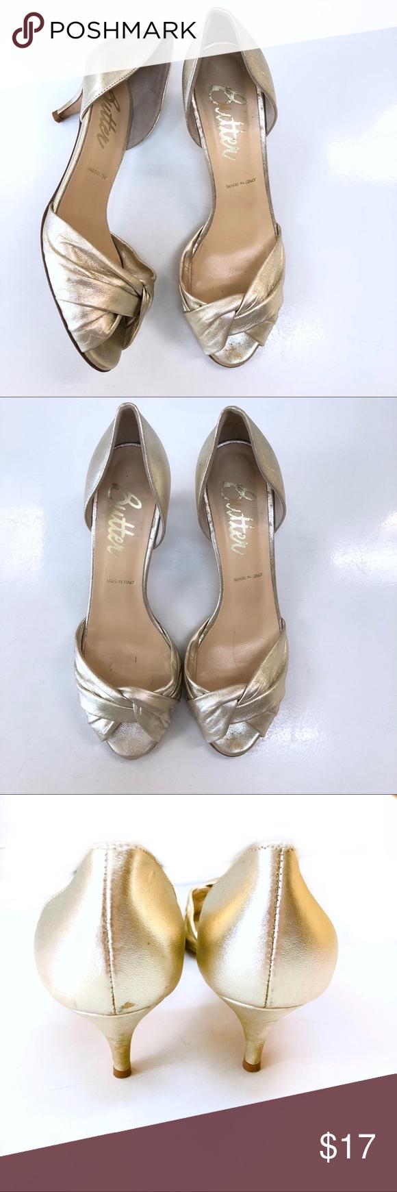 Butter Size 7 Gold Peep Toe Kitten Heels Made In Italy Size 7 Butter Peep Toe With Kitten Heel Butter Shoes Heel Shoes Women Heels Butter Shoes Kitten Heels