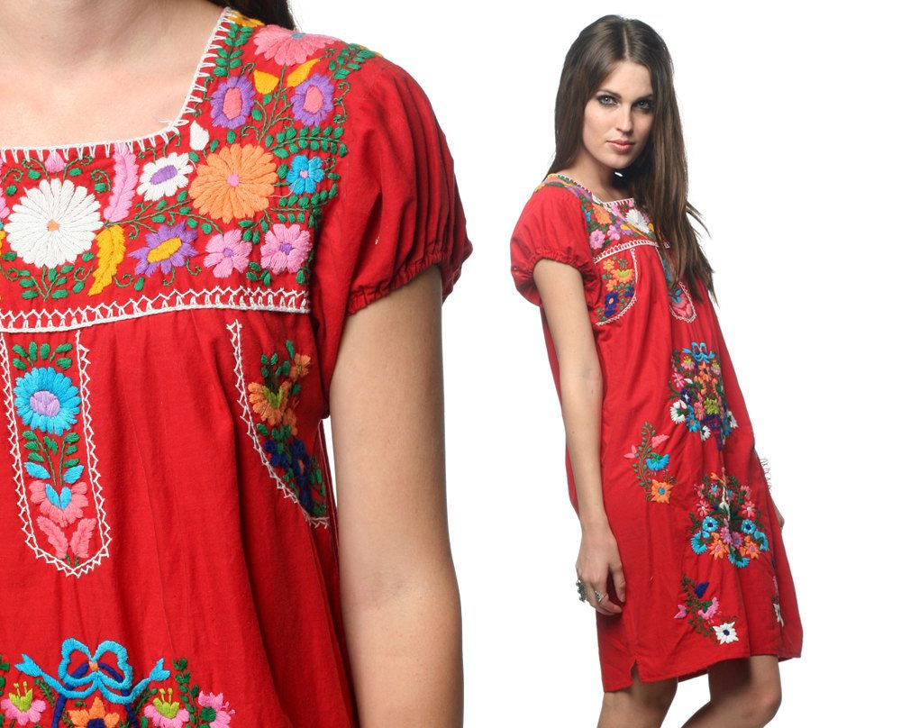 Embroidered Mexican Dress Boho 1970s, via Etsy.