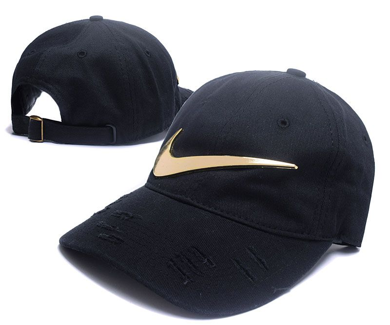 f4a64efce3e Men s   Women s Nike Big Swoosh Metal Golden Vintage Adjustable Dad Hat -  Black   Gold