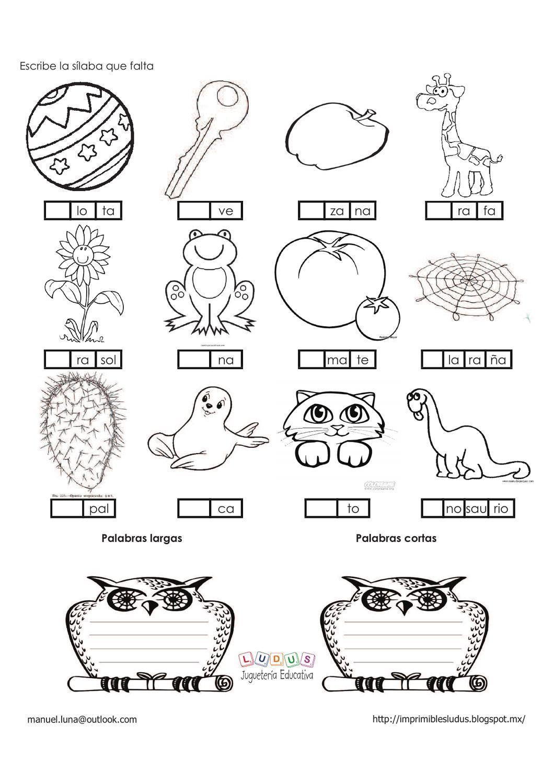 Silabas En Espanol Worksheets
