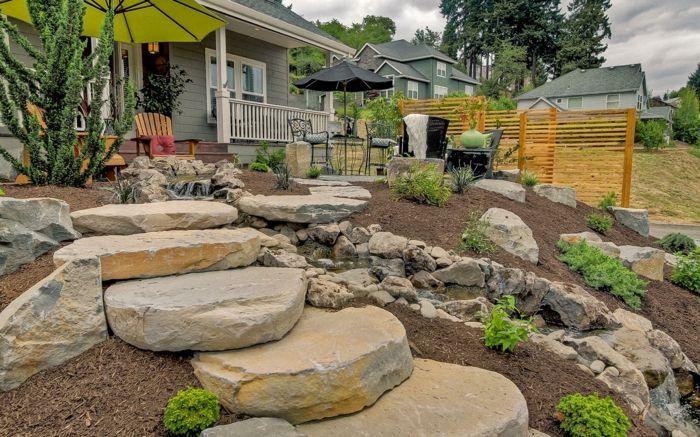 massive steinblöcke gartentreppe selber bauen vorgarten DIY - Do - gartentreppe holz selber bauen anleitung