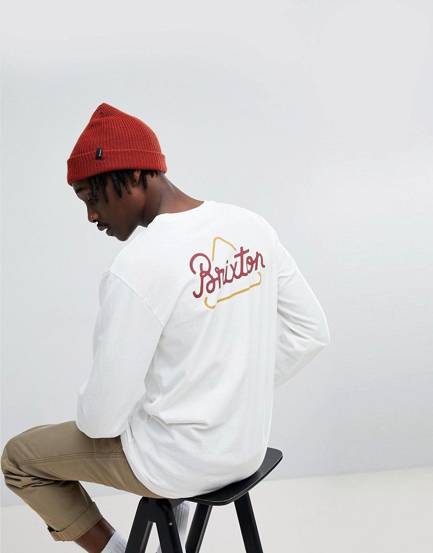 BRIXTON NEWBURY LONG SLEEVE T-SHIRT WITH TRIANGLE BACK PRINT - WHITE.   brixton  cloth   596e2ce3cb1