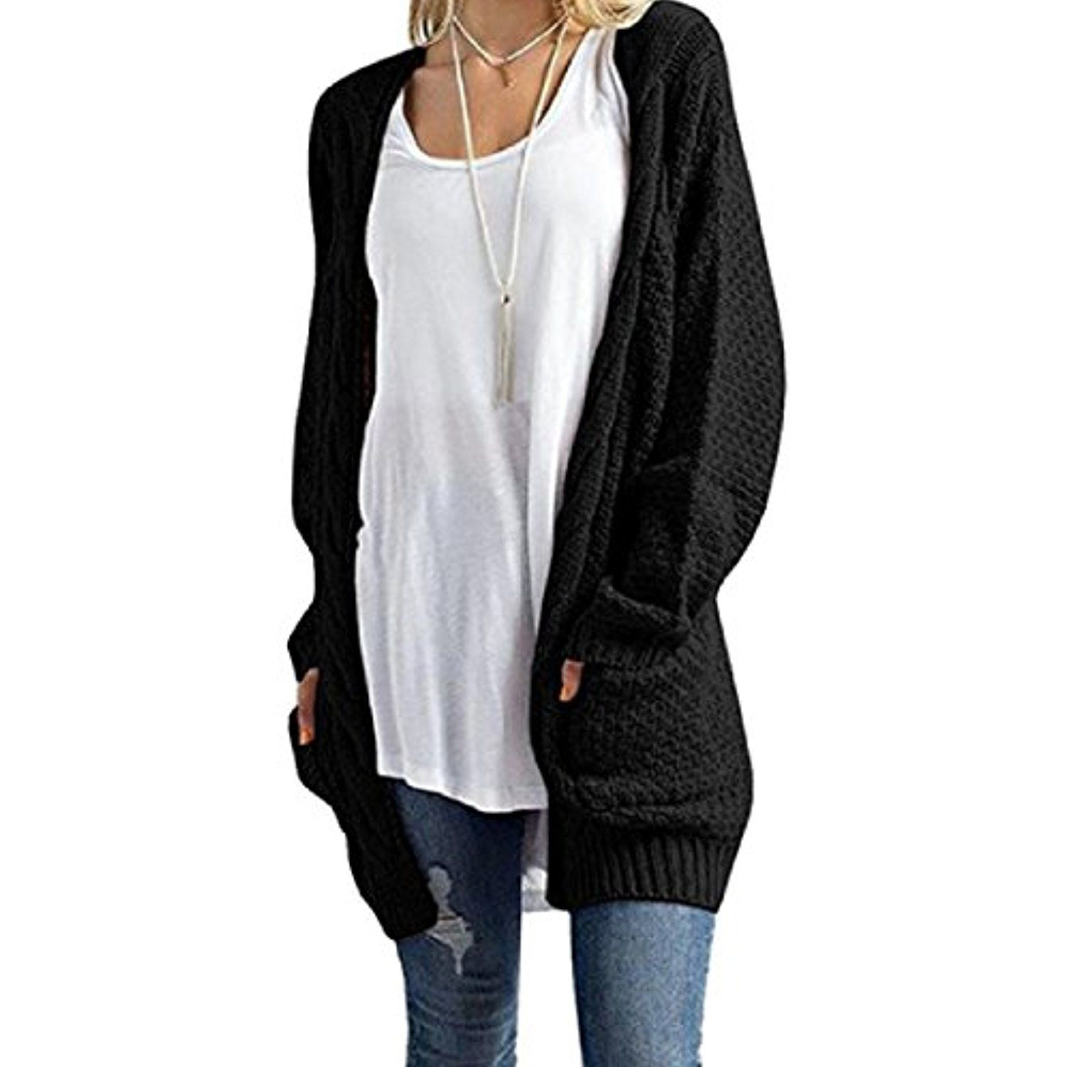 Womens Hollow Solid Modern Mid Length Cardigan Sweater Jacket ...