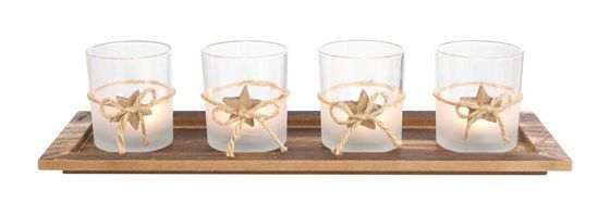 Teelichthalter in Naturbraun - mit 4 dekorativen Gläsern