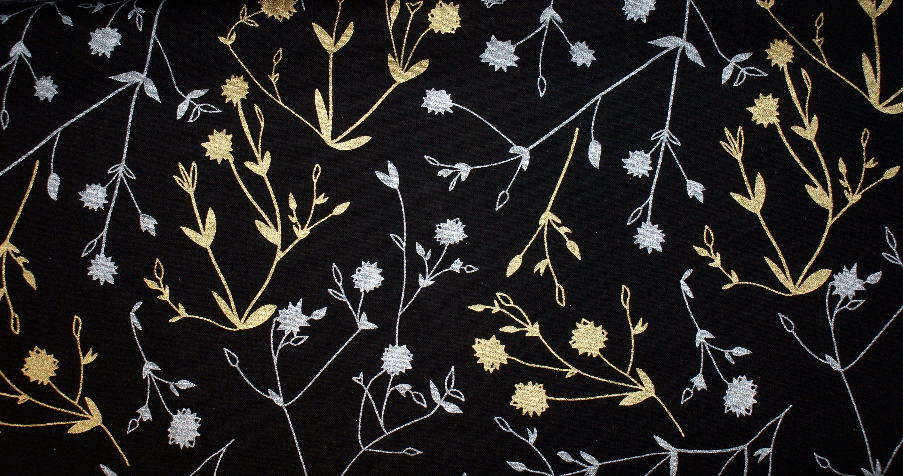 Stoff Silber Fabric With Flowers Gold And Silver Metallic Print