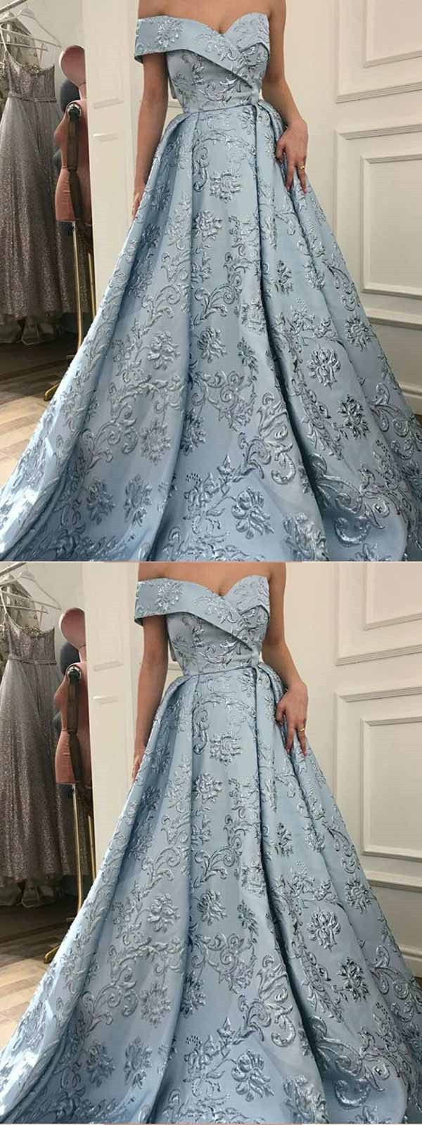 Vintage blue prom dress lace one shoulder prom dress with sleeve