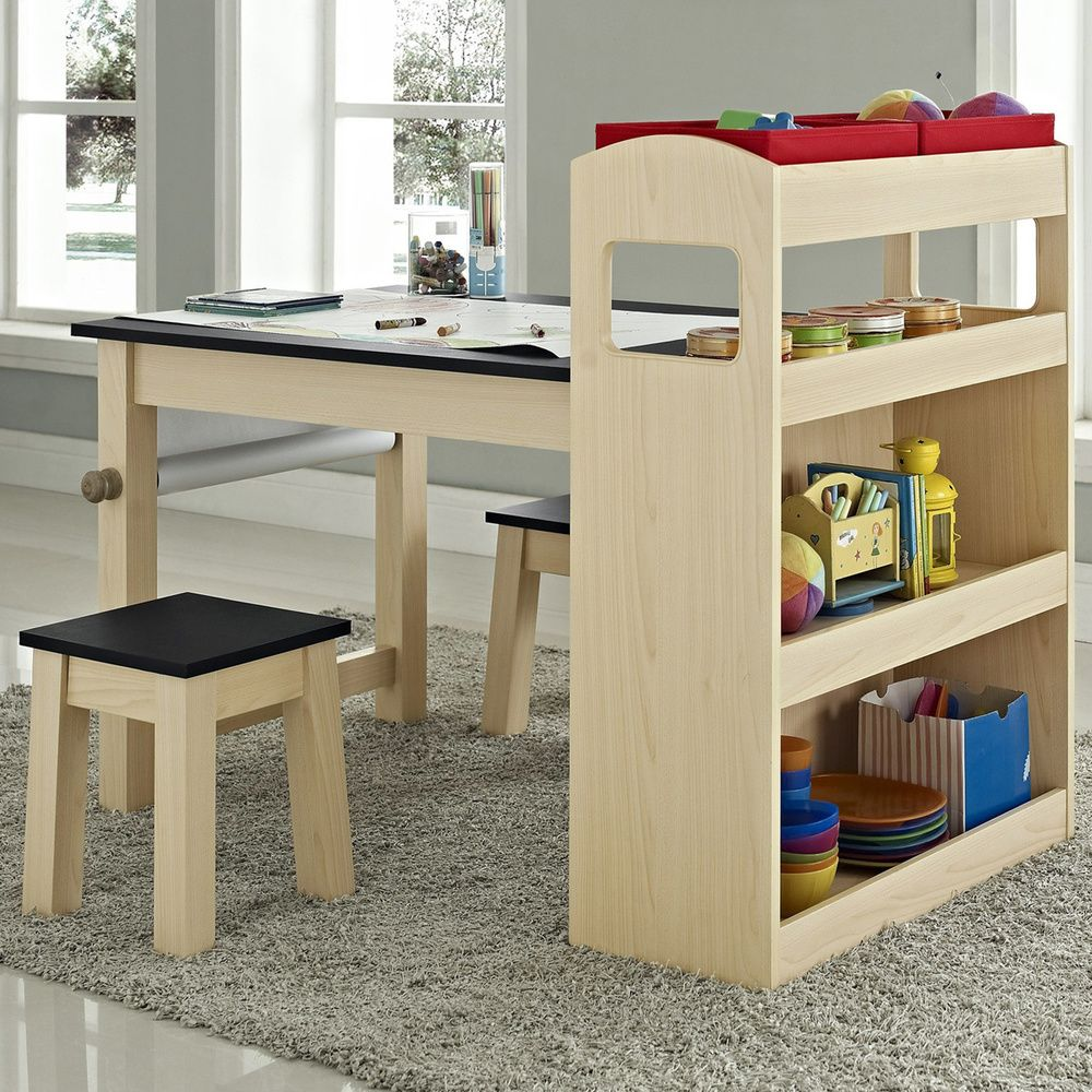 Kids Maple Wood Activity Table With Two Stools   Overstock.com Shopping    Big Discounts