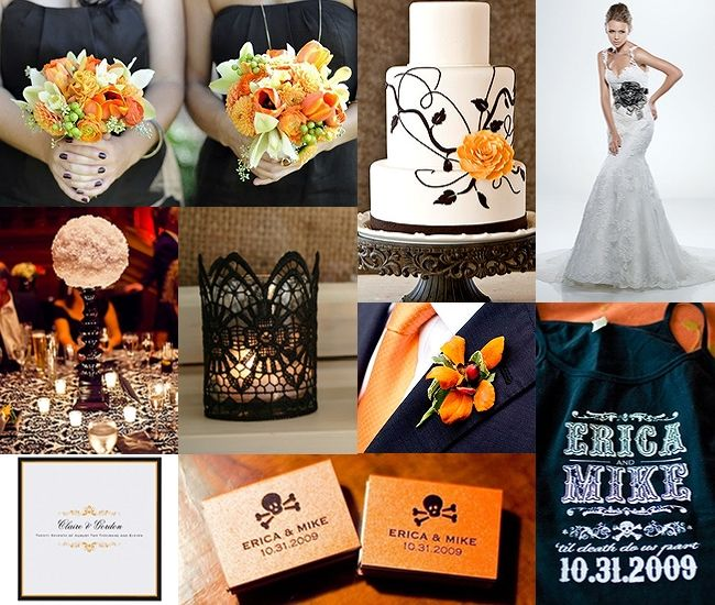 Halloween Weddings Decor Ideas: GSS Wedding Inspiration Board :: Orange & Black
