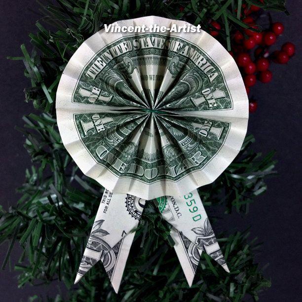 Dollar Bill Origami Rosette Ribbon Unique Money Gift 1st First