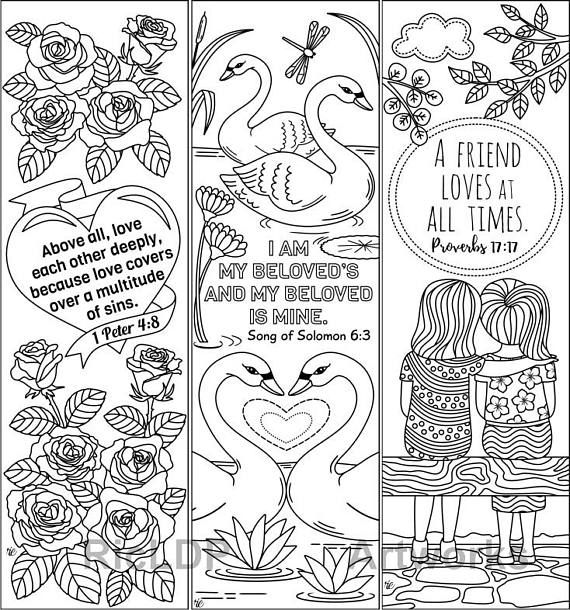 8 Printable Coloring Bookmarks with Love Bible Verses; Love Bible ...