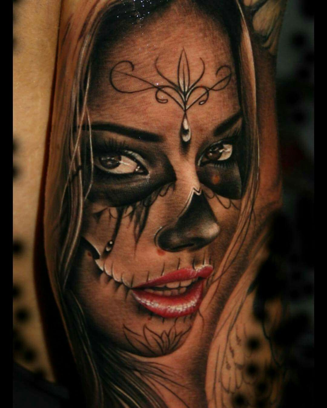 Amazing tattoo 3 pinterest tatouages tatouage santa muerte et tattoo bras complet - Santa muerte signification ...