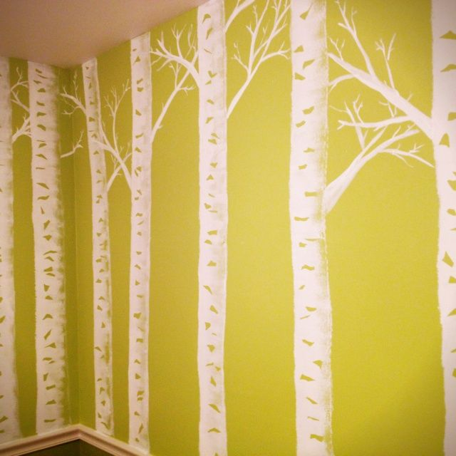 Birch Trees Painted On Walls | Painting technique...wanted an ...
