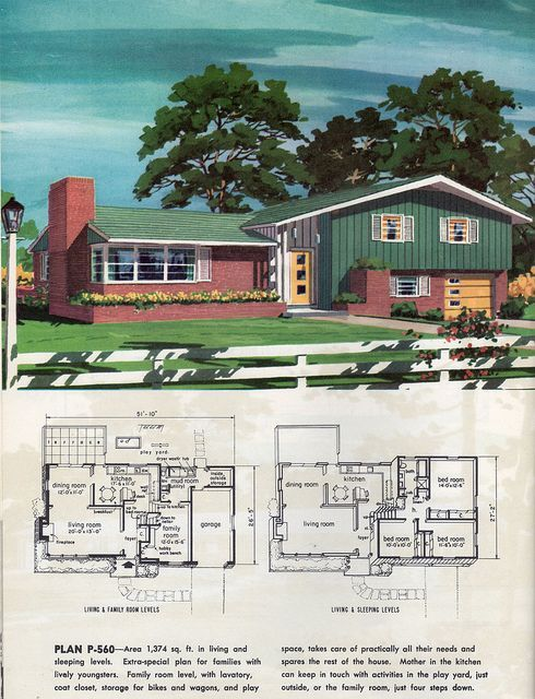 1960 Flickr Photo Sharing Vintage House Plans Mid Century Modern House Plans Split Level House Plans