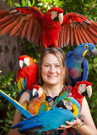 Stock Photo of Blonde woman surrounded by colorful parrots vertical ... 6f5907d33b