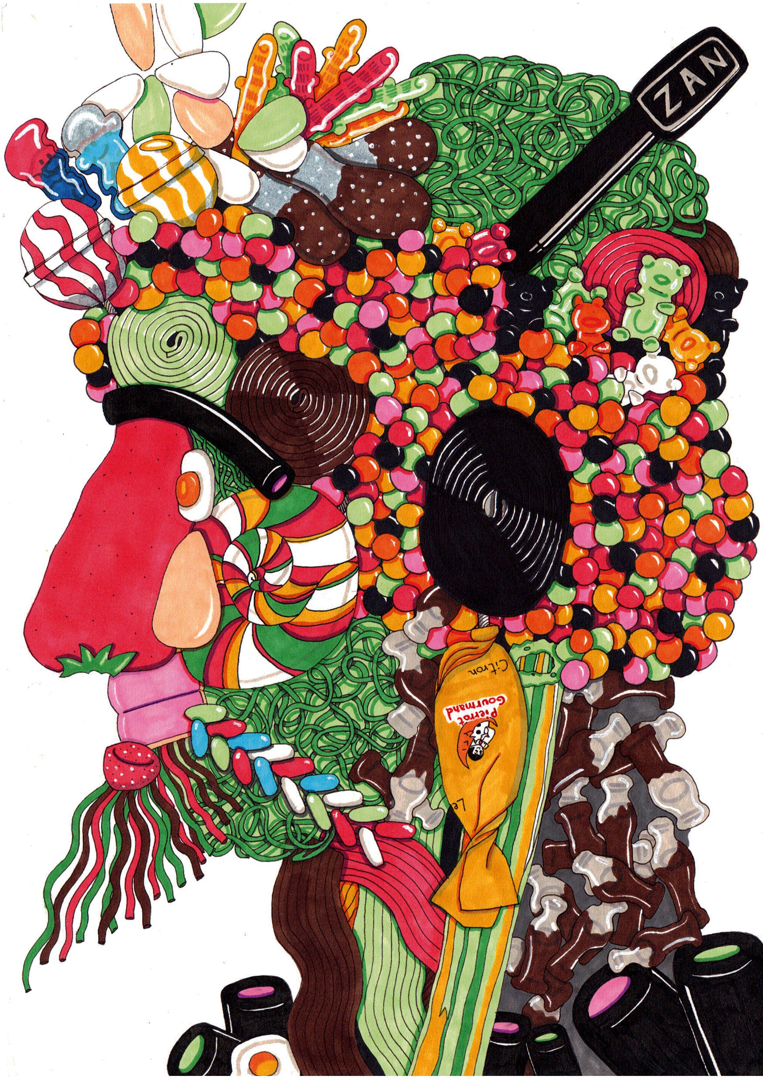 Arcimboldo dessin bonbons cr ation en 3e creationelle - Bonbon en dessin ...