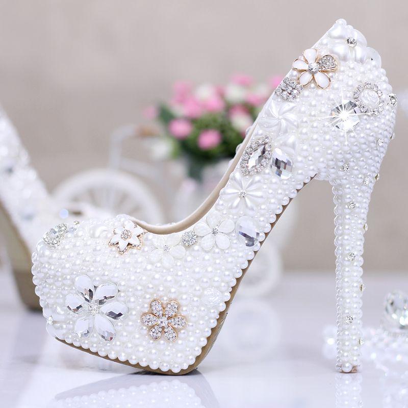 White Ivory high heel pumps wedding shoes rhinestone wedding shoes ultra high  heels with platform crystal . 5d3f7ec2331a