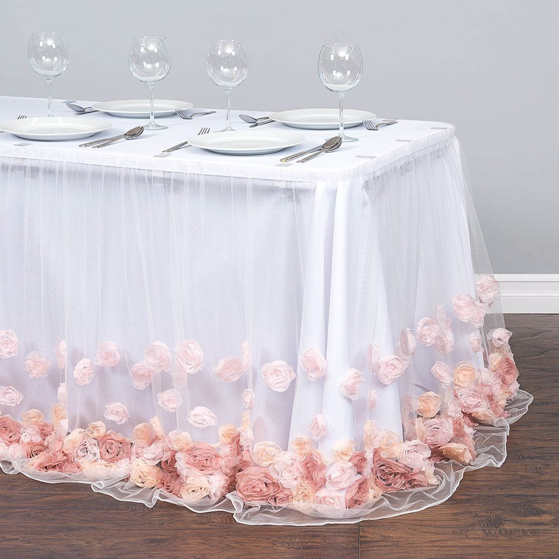 14 Ft Curly Willow Table Skirt Light Pink Rose Gold Table Baby
