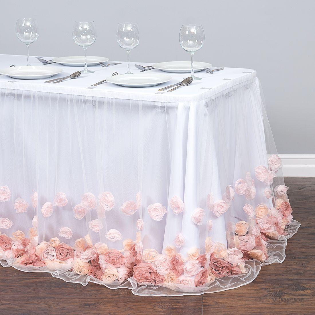 17 Ft Tulle Rose Table Skirt Blush Pink Rose Gold Table Table Skirt Rose Gold Table Cloth