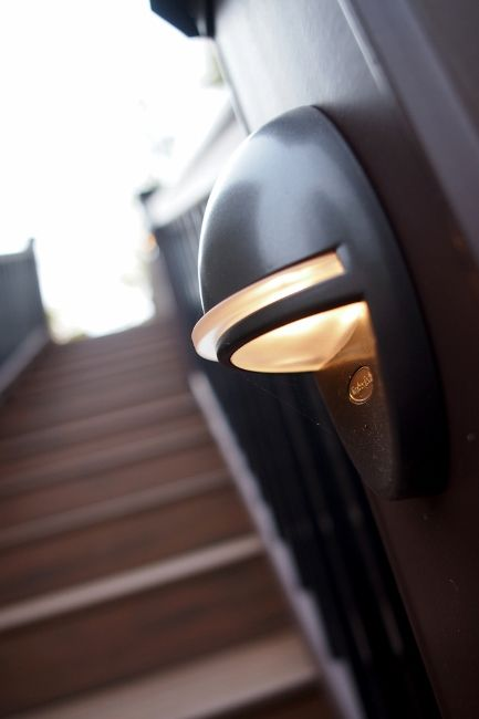 Timbertech accent lights create a soft glow and added safety timbertech accent lights create a soft glow and added safety view more timbertech deck lighting options at millard lumber mozeypictures Images
