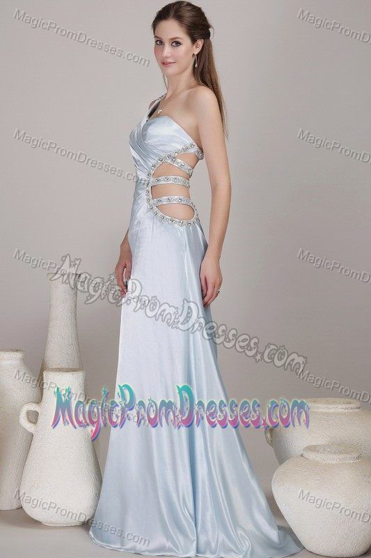 One Shoulder Light Blue Prom Dress with Cut Out Waist North Carolina ...