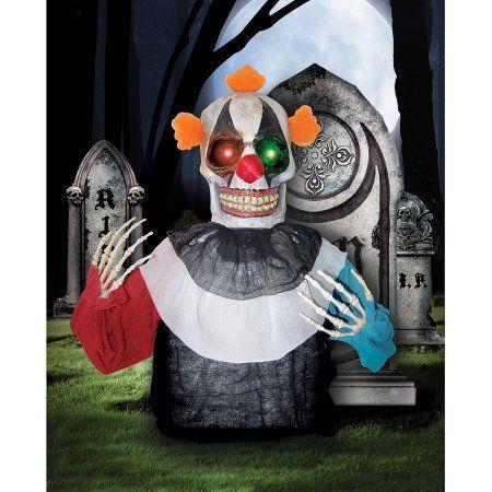 Light-Up Creepy Clown Grave Breaker Halloween Decoration, Multicolor - halloween decorations at walmart