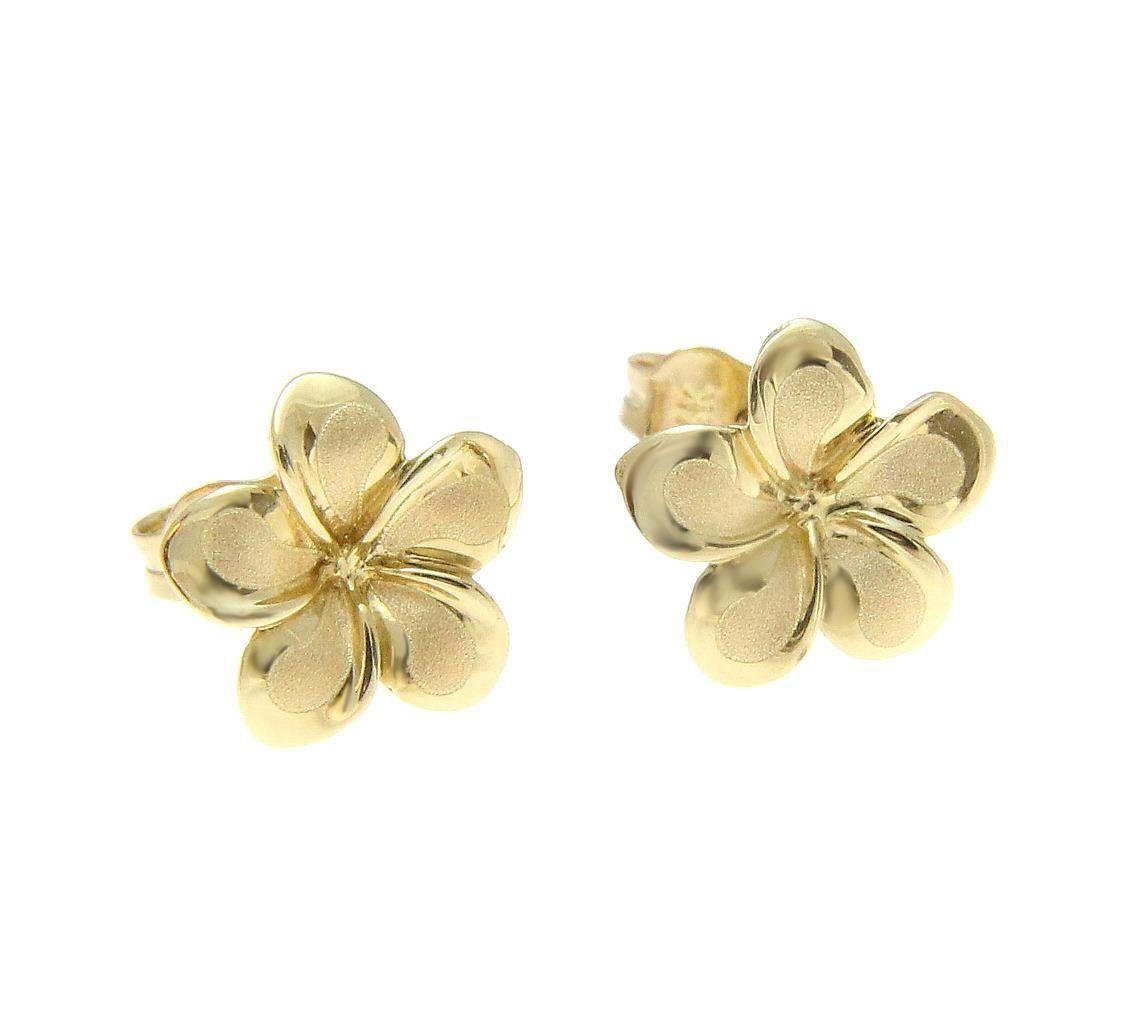 K solid yellow gold hawaiian mm plumeria flower stud earrings