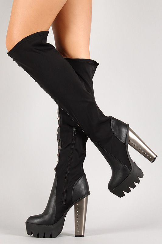c2ce37f80 Studded Platform Lug Sole Thigh High Boot | Hello Fall | Boots ...