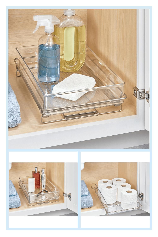 Idesign Clear Undersink Sliding Tray Bed Bath Beyond Under Bathroom Sink Storage Bathroom Sink Storage Diy Under Sink Storage [ 1500 x 1000 Pixel ]