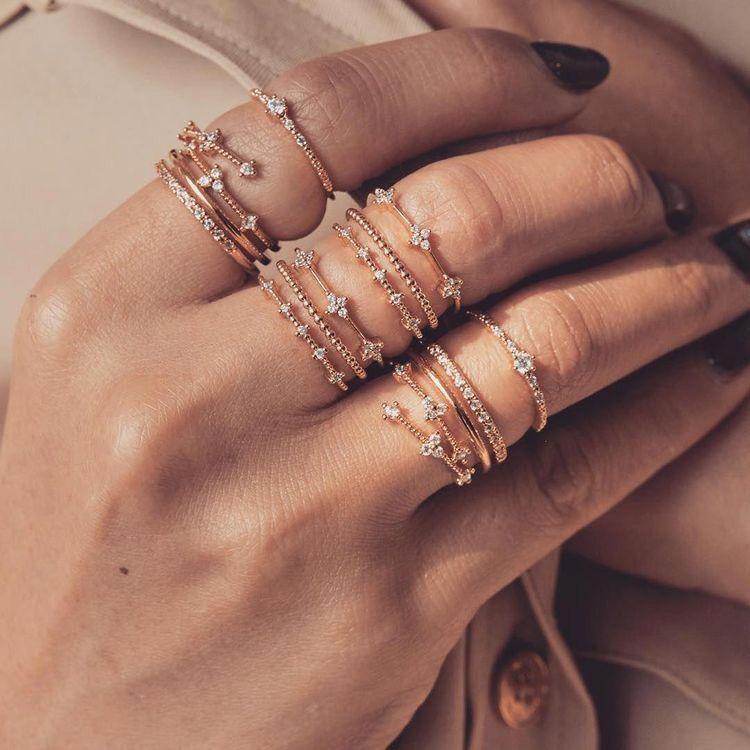 #rings  #stackedrings #jewelry #daintyrings #dainty