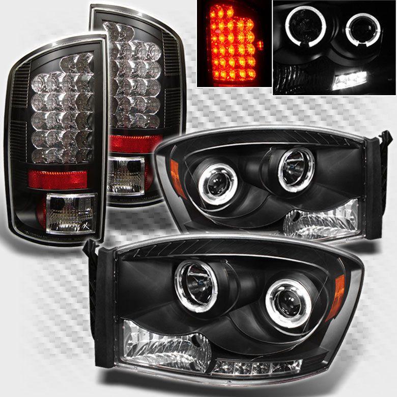 For 2007 2008 Dodge Ram Twin Halo Led Pro Headlights Lights Led Tail Lights Led Tail Lights Dodge Ram Led Halos