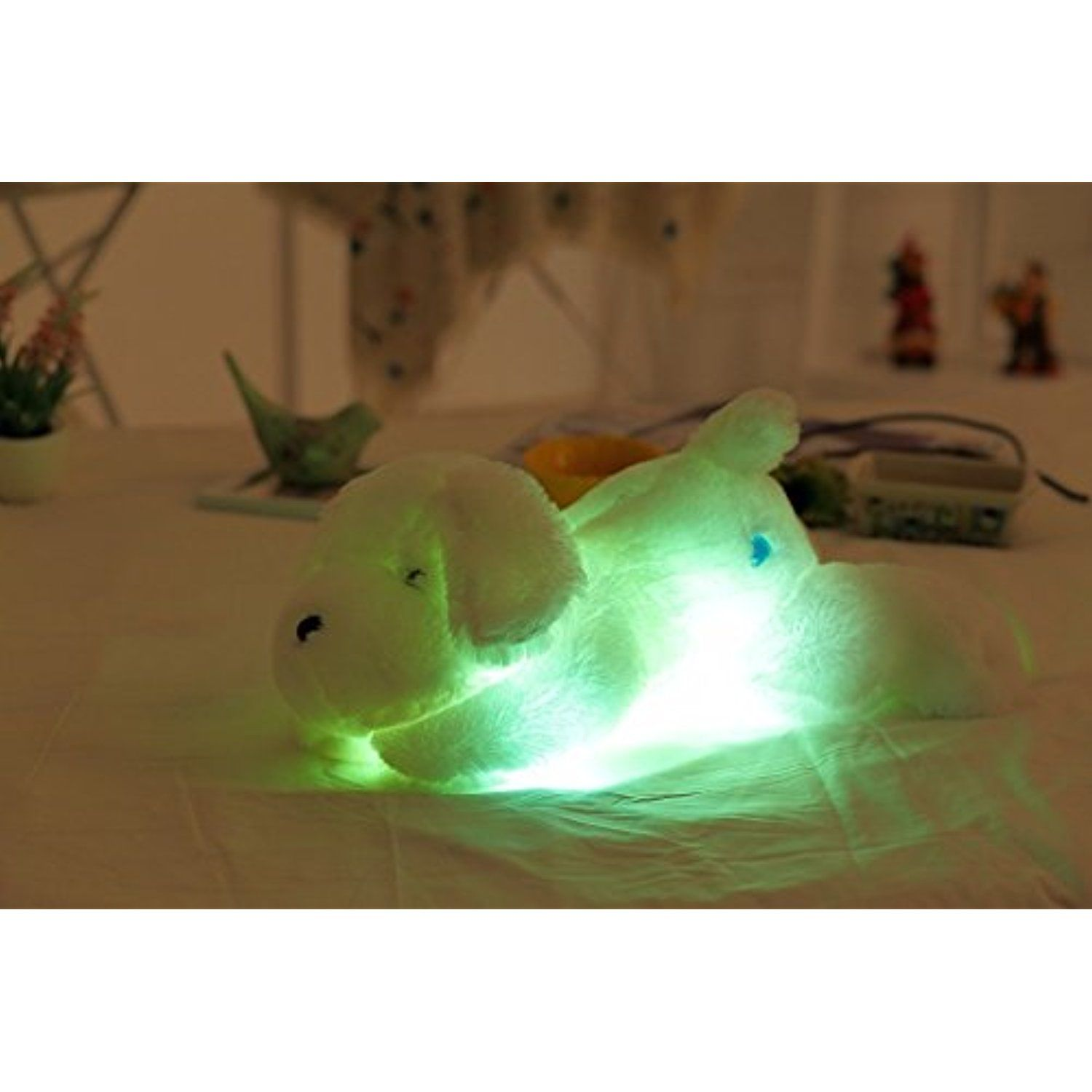 Luminous Lying Puppy Dog Push Toys Night Light LED Stuffed Animal ...