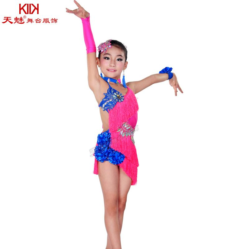 3fb62ae9e794 child tassels Latin Dance Ballroom Girls Samba salsa dresses sequin ...