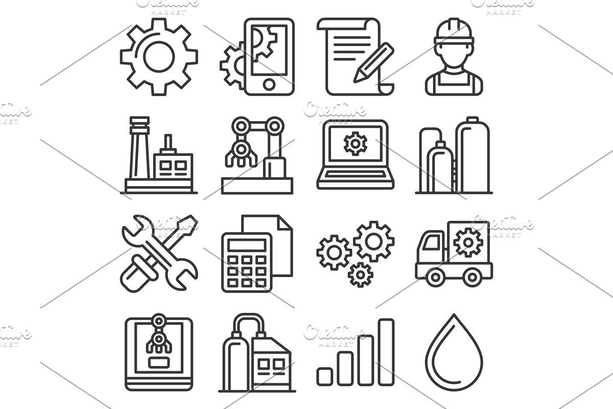 Manufacturing And Engineering Icons Icon Engineering Business Illustration