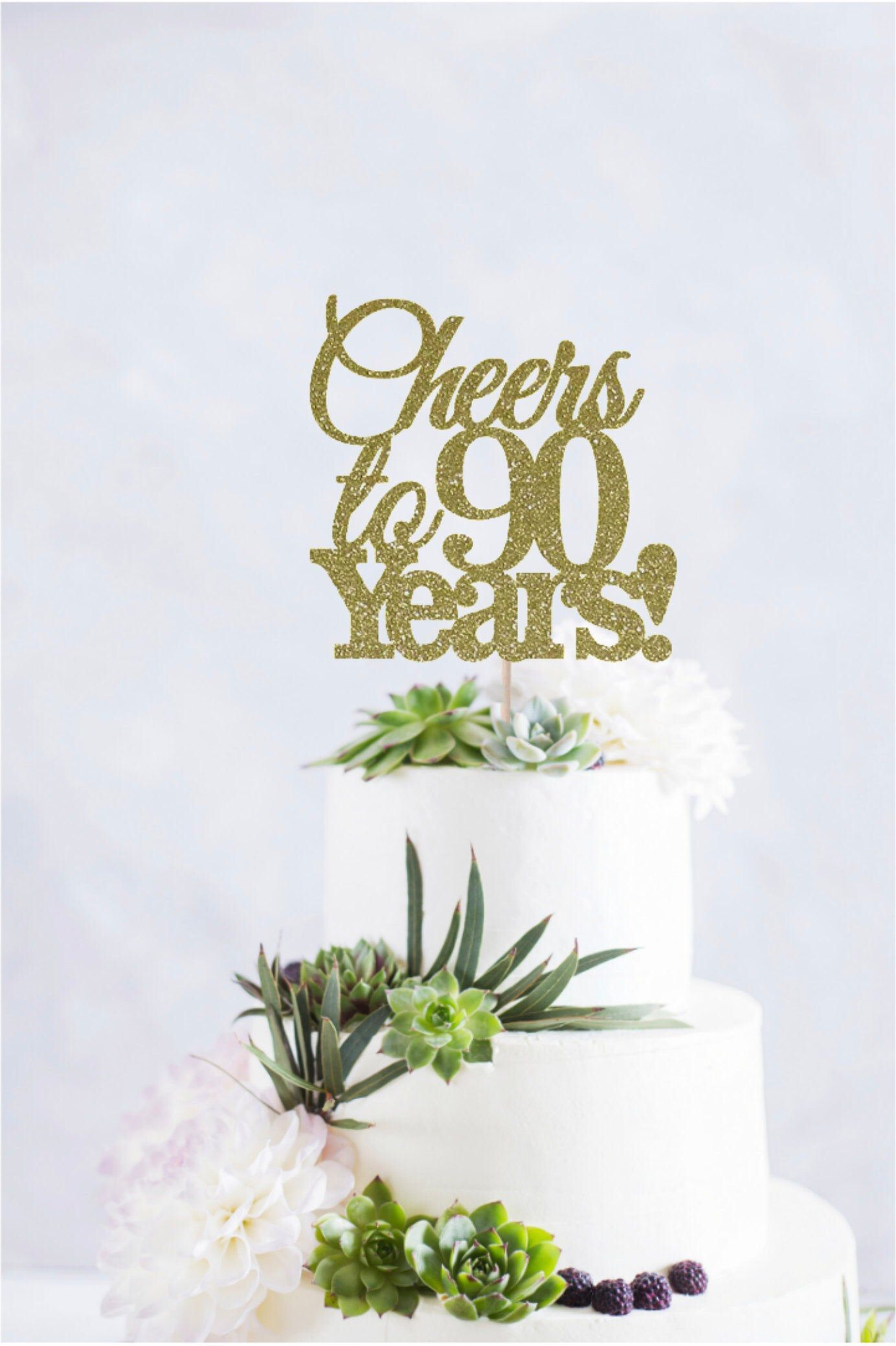 Fabulous Cheers To 90 Years Cake Topper 90Th Birthday Cake Topper Happy Personalised Birthday Cards Veneteletsinfo