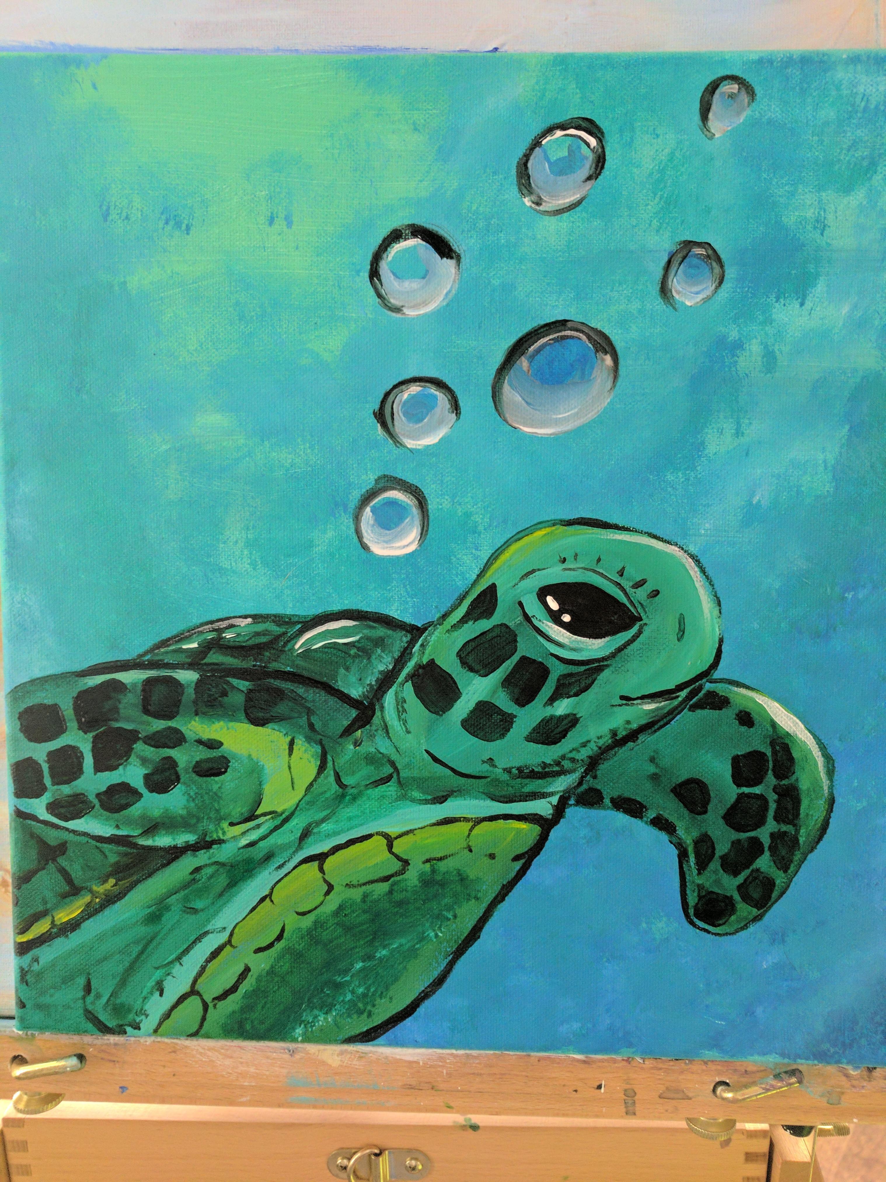 Sea Turtle Acrylic On Canvas Turtle Painting Canvas Turtle Painting Turtle Art