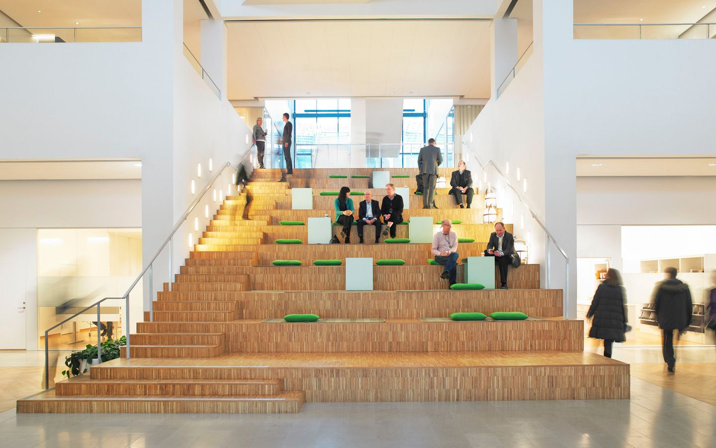 In Atrium/lobby Couple Stairs With Tiered Lounge Area. Good For Impromptu  Meetings And