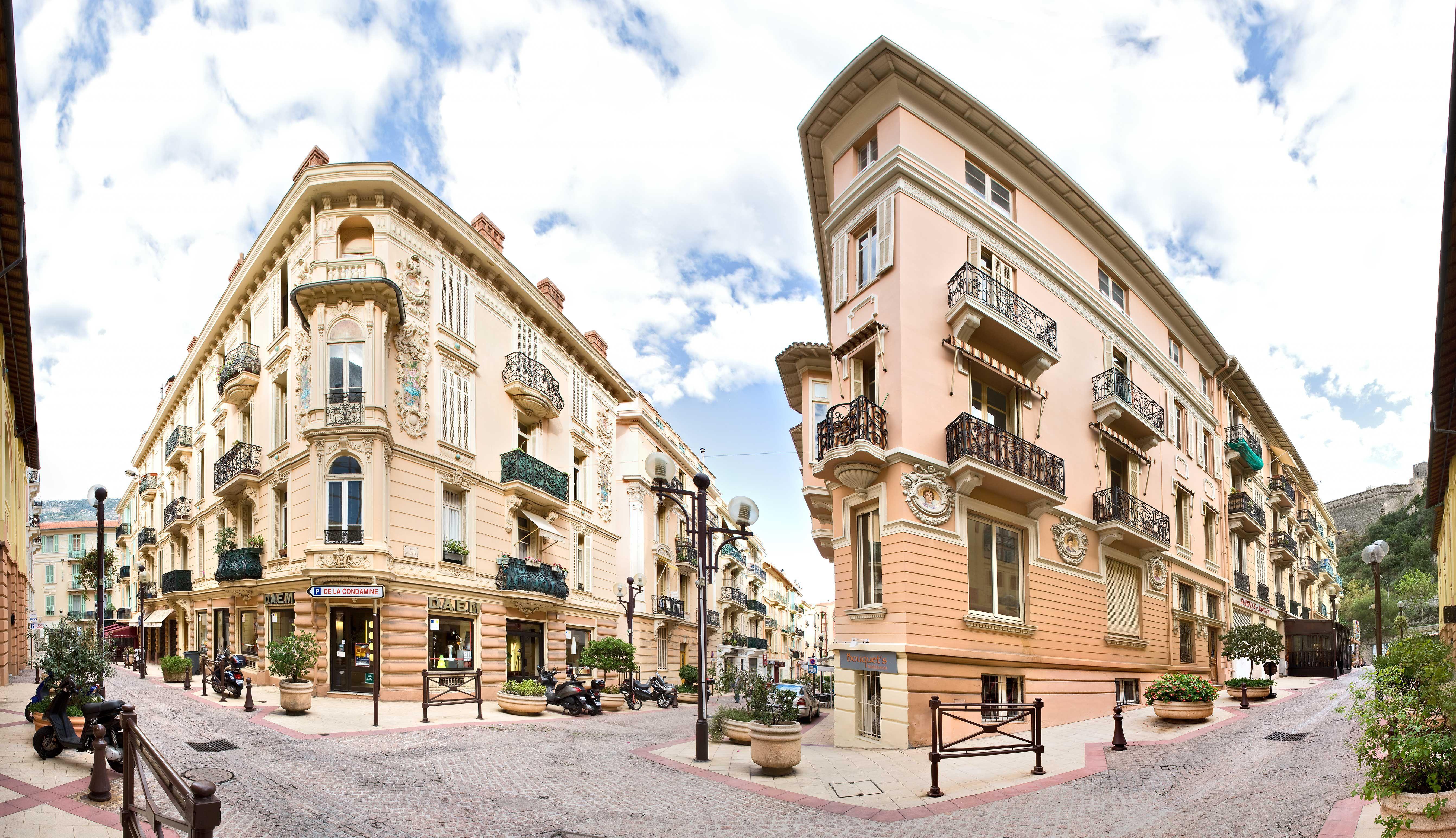 Rue Terrazzani & Rue of Açores, Monaco.  Note the Belle Époque ceramics on the buildings.