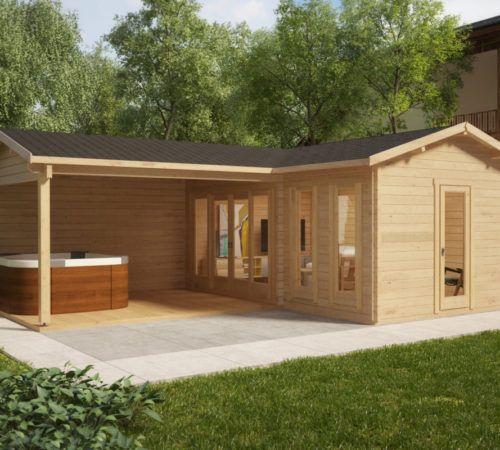 eck gartenhaus hansa corner b 18m2 44mm 3x6 moderne gartenh user pinterest. Black Bedroom Furniture Sets. Home Design Ideas