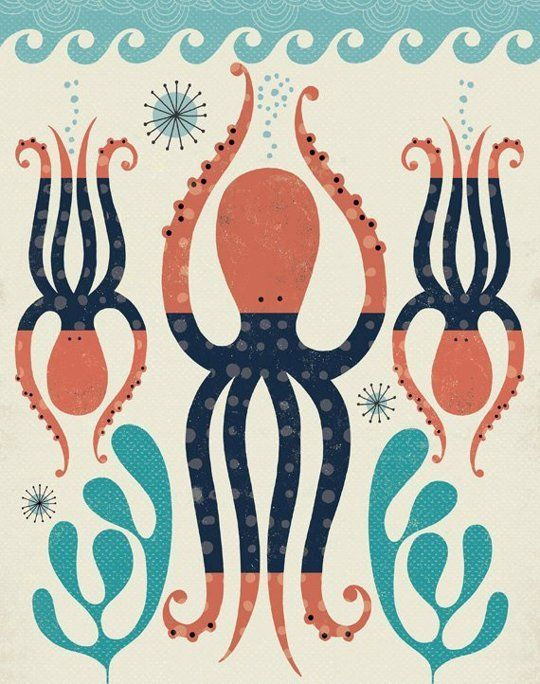 The Octopi Movement: Octopus Decor for Kids [print by https://www.etsy.com/ca/shop/TracyWalkerInk]