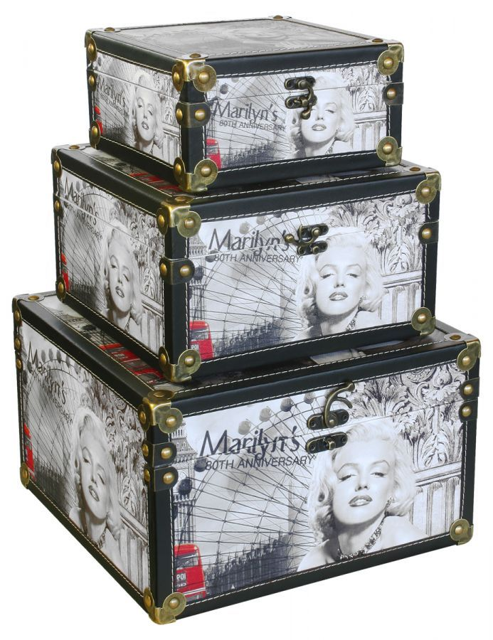 3 pce decorative storage boxes marilyn monroe storage boxes accessories quality furniture - Decorative Storage Boxes